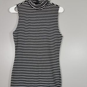 Forever 21 white striped black turtleneck dress M